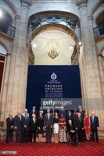 King Felipe VI of Spain and Queen Letizia of Spain pose for a picture with the 2013 Prince of Asturias Award laureates at the at the Reconquista...