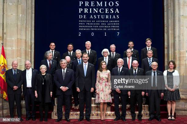 King Felipe VI of Spain and Queen Letizia of Spain pose for a picture with the 2017 Princess of Asturias Award laureates at the Reconquista Hotel...