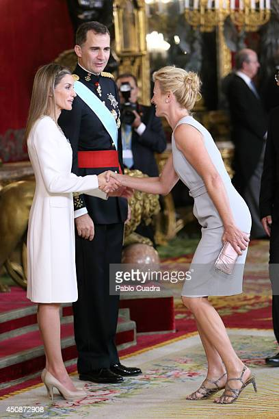 King Felipe VI of Spain and Queen Letizia of Spain receive actress Ana Duato during reception at the Royal Palace after the King's official...
