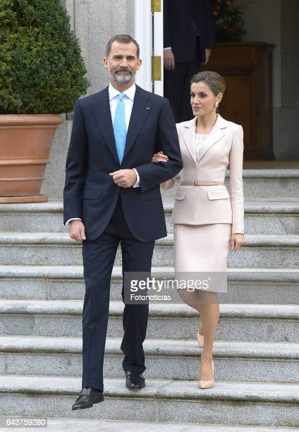 King Felipe VI of Spain and Queen Letizia of Spain receive Argentina's President Mauricio Macri and his wife Juliana Awada for an official lunch at...