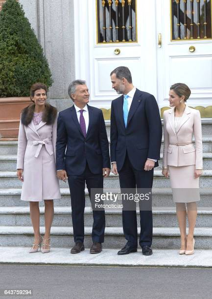 King Felipe VI of Spain and Queen Letizia of Spain receive Argentina's President Mauricio Macri and wife Juliana Awada for an official lunch at...