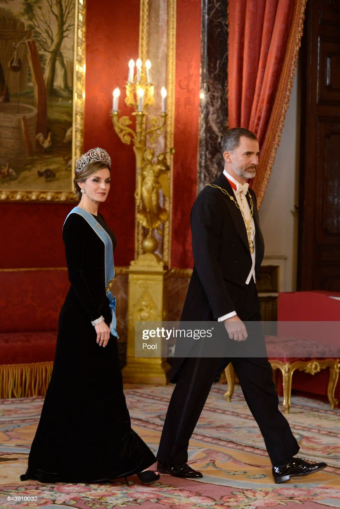 King Felipe VI of Spain and Queen Letizia of Spain receive Argentina's President Mauricio Macri and wife Juliana Awada for an Gala Dinner at the Royal Palace on February 22, 2017 in Madrid, Spain.