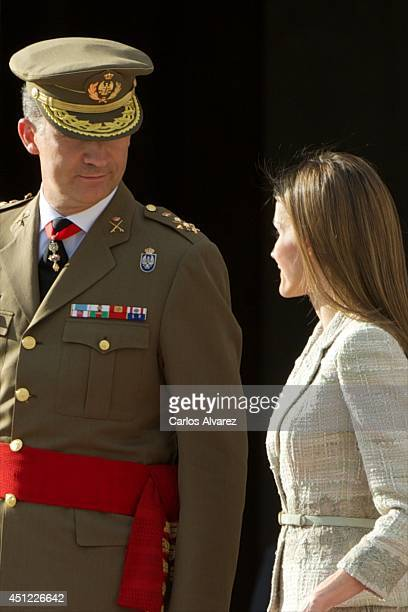 King Felipe VI of Spain and Queen Letizia of Spain receive Armed Forces and Guardia Civil at the Royal Palace on June 25 2014 in Madrid Spain