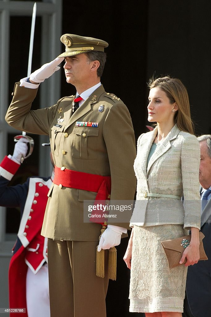 King Felipe VI of Spain and Queen Letizia of Spain receive Armed Forces and Guardia Civil at the Royal Palace on June 25, 2014 in Madrid, Spain.