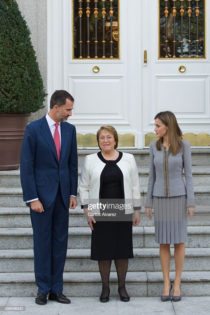 Spanish Royals and President Of Chile Meet For An Official Lunch