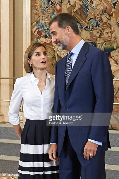 King Felipe VI of Spain and Queen Letizia of Spain receive 'Europa Scholarship' pupils at the Zarzuela Palace on July 17 2015 in Madrid Spain