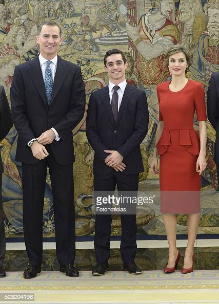 King Felipe VI of Spain and Queen Letizia of Spain receive figure skating world champion Javier Fernandez at Zarzuela Palace on April 22 2016 in...