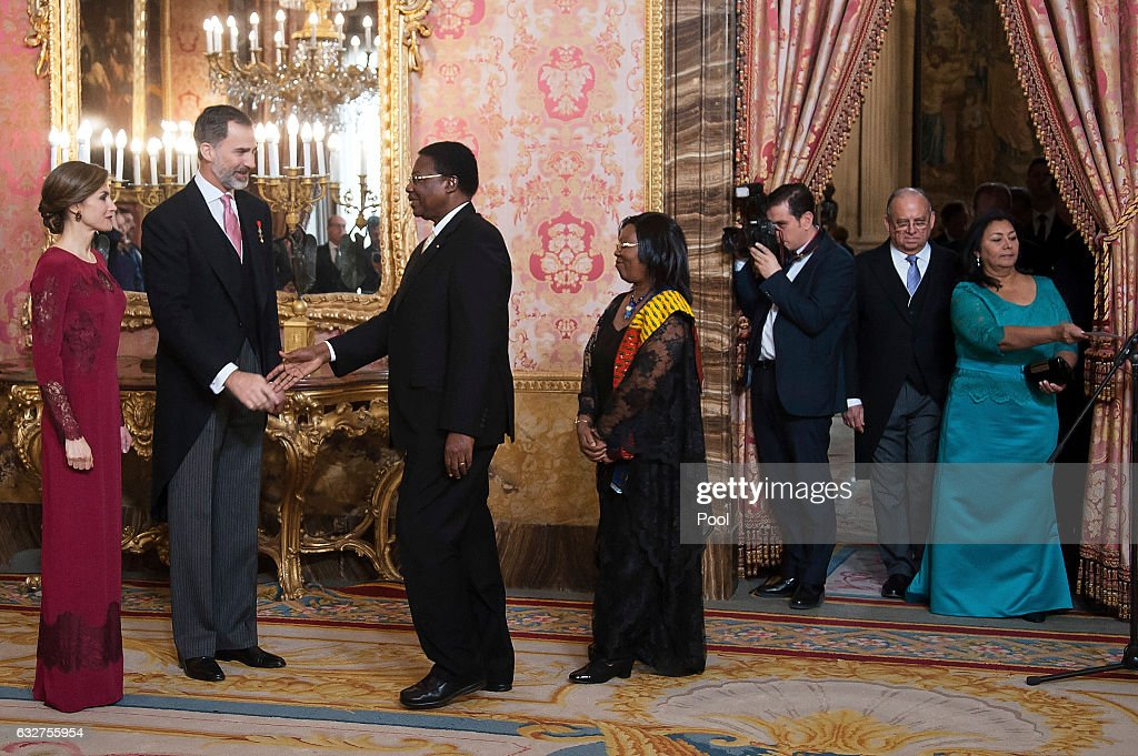King Felipe VI of Spain and Queen Letizia of Spain receive foreign ambassadors at the Royal Palace on January 26, 2017 in Madrid, Spain.