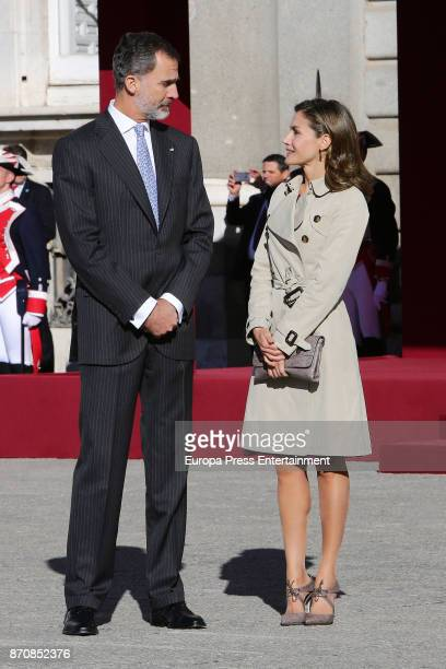 King Felipe VI of Spain and Queen Letizia of Spain receive Israel's president Reuven Rivlin and wife Nechama Rivlin at Royal Palace on November 6...