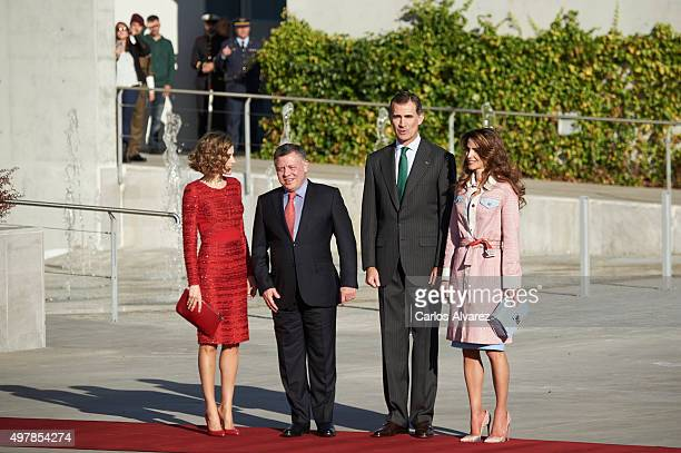 King Felipe VI of Spain and Queen Letizia of Spain receive King Abdullah of Jordan and Queen Abdullah of Jordan at the Barajas Airport on November 19...