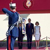 King Felipe VI of Spain and Queen Letizia of Spain receive Peruvian President Ollanta Humala Tasso at the El Pardo Palace on July 7 2015 in Madrid...