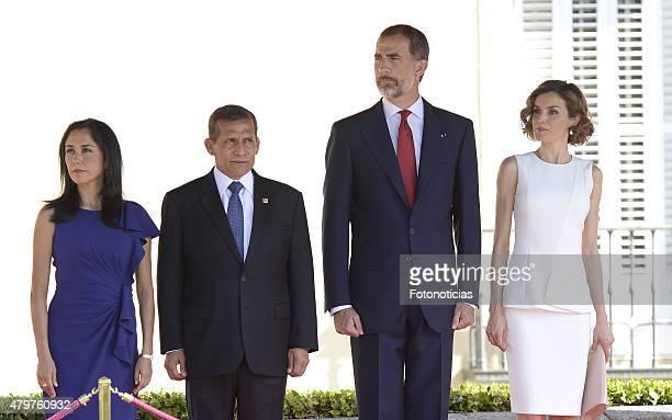 King Felipe VI of Spain and Queen Letizia of Spain receive Peruvian President Ollanta Humala Tasso and wife Nadine Heredia Alarcon at El Pardo Palace...