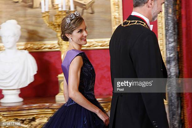 King Felipe VI of Spain and Queen Letizia of Spain receive Peruvian President Ollanta Humala Tasso at the Royal Palace on July 7 2015 in Madrid Spain