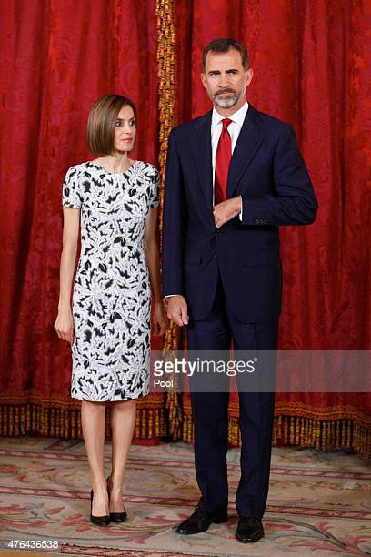 King Felipe VI of Spain and Queen Letizia of Spain receive President of Paraguay Horacio Manuel Cartes Jara at the Royal Palace on June 9 2015 in...
