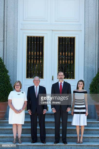 King Felipe VI of Spain and Queen Letizia of Spain receive President of Peru Pedro Pablo Kuczynski and wife Nancy Lange at the Zarzuela Palace on...