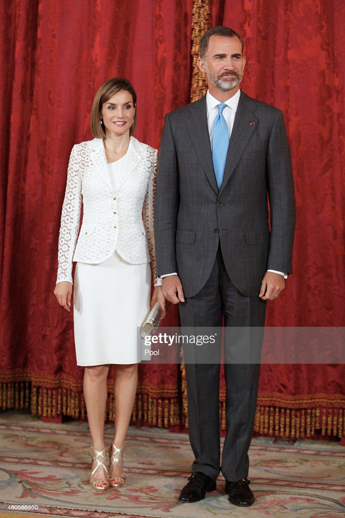 King Felipe VI of Spain and Queen Letizia of Spain receive Romanian President Klaus Werner Iohannis at the Royal Palace on July 13, 2015 in Madrid, Spain.