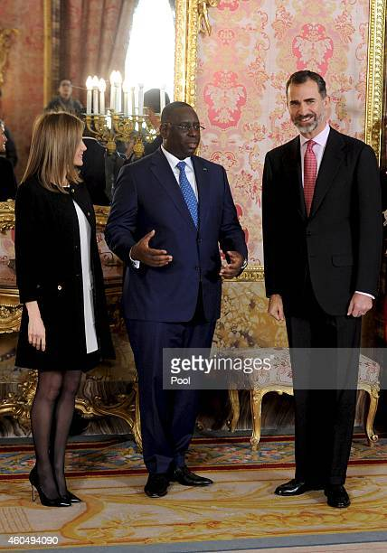 King Felipe VI of Spain and Queen Letizia of Spain receive Senegal's President Macky Sall at the Royal Palace on December 15 2014 in Madrid Spain