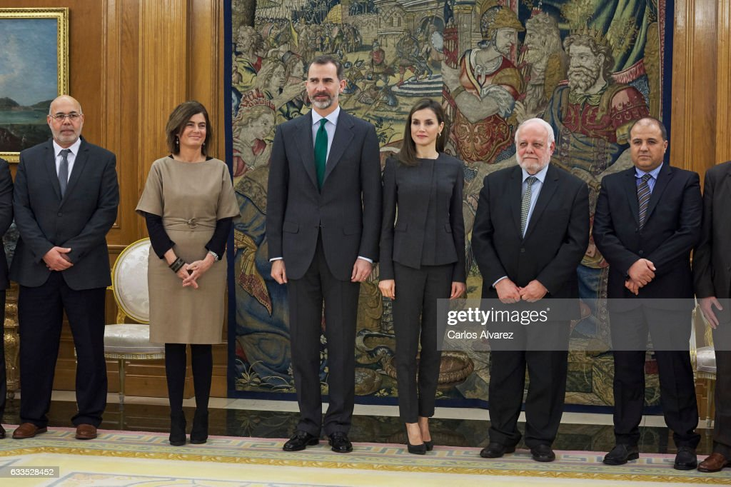 King Felipe VI of Spain and Queen Letizia of Spain receive the Board of Directors of the Islamic Comission of Spain at the Zarzuela Palace on February 2, 2017 in Madrid, Spain.