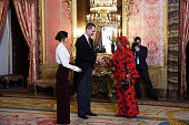 Spanish Royals Receive the Diplomatic Corps at Zarzuela...