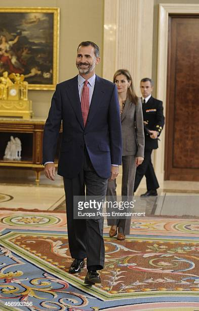 King Felipe VI of Spain and Queen Letizia of Spain receive to Waterpolo and Swimming Female Teams on October 10 2014 in Madrid Spain