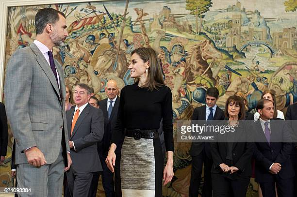King Felipe VI of Spain and Queen Letizia of Spain receive TVE members at Zarzuela Palace on November 18 2016 in Madrid Spain