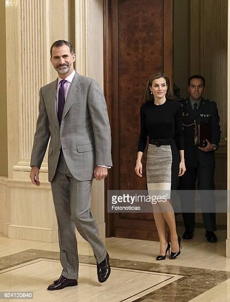King Felipe VI of Spain and Queen Letizia of Spain receive TVE members at Zarzuela Palace on November 18 2016 in Madrid Spain