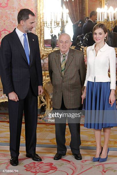 King Felipe VI of Spain and Queen Letizia of Spain receives Spanish author Juan Goytisolo at the Royal Palace on April 22 2015 in Madrid Spain