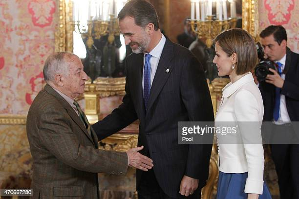 King Felipe VI of Spain and Queen Letizia of Spain receives Spanish author Juan Goytisolo in ocassion of the '2014 Cervantes Award' at the Royal...