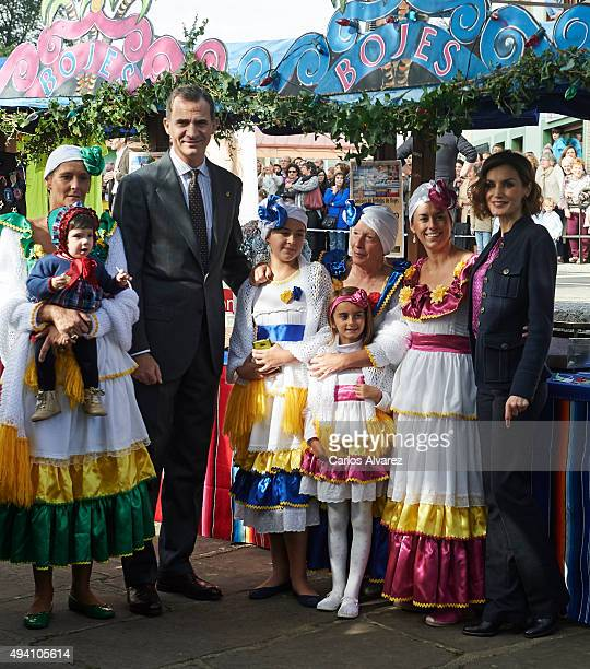 King Felipe VI of Spain and Queen Letizia of Spain visit 2015 Exemplary Town of Colombres on October 24 2015 in Colombres Spain The village of...