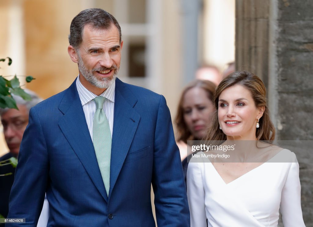 King Felipe VI of Spain and Queen Letizia of Spain visit Exeter College at Oxford University on the final day of the Spanish State Visit to the United Kingdom on July 14, 2017 in Oxford, England. This is the first State Visit by the current King Felipe and Queen Letizia, the last being in 1986 with King Juan Carlos and Queen Sofia.