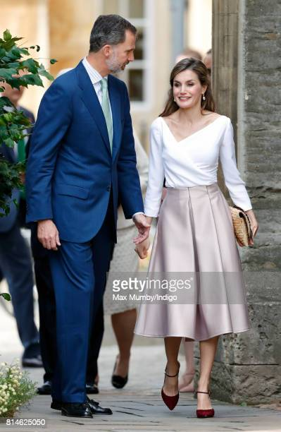 King Felipe VI of Spain and Queen Letizia of Spain visit Exeter College at Oxford University on the final day of the Spanish State Visit to the...
