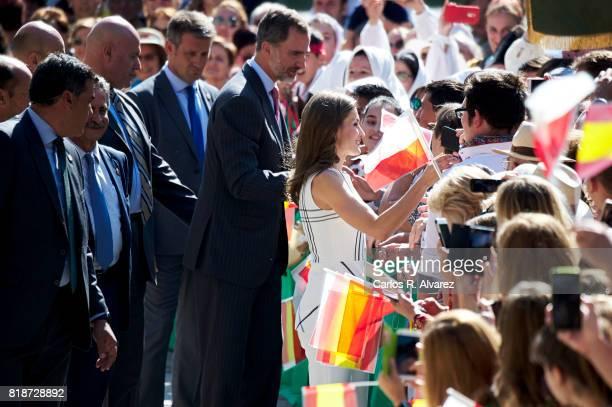 King Felipe VI of Spain and Queen Letizia of Spain visit Santo Toribio de Liebana Monastery in ocassion of the Lebaniego Jubilee Year on July 19 2017...