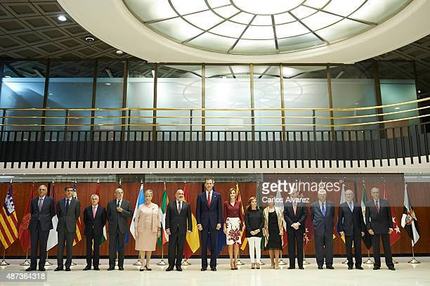 King Felipe VI of Spain and Queen Letizia of Spain visit the Constitutional Court in occasion of his 35th anniversary on September 9 2015 in Madrid...