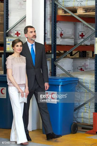 King Felipe VI of Spain and Queen Letizia of Spain visit the headquarters of World Food Program of the Palmas de Gran Canaria and the Center for...