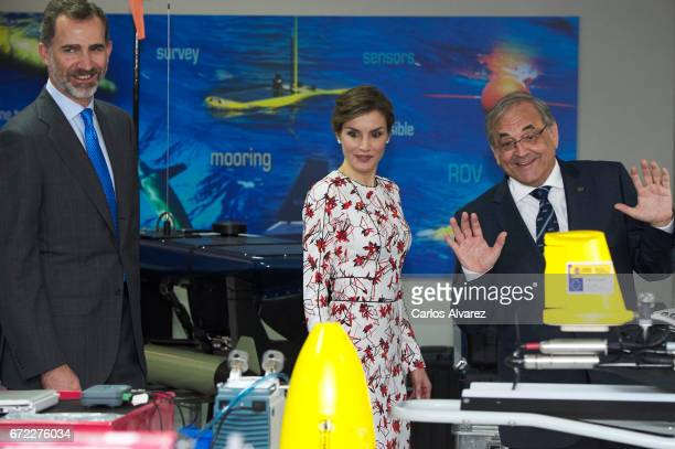 King Felipe VI of Spain and Queen Letizia of Spain visit the headquarters of the Oceanic Platform of the Canary Islands 'PLOCAN' on April 24 2017 in...