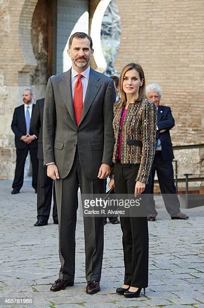 King Felipe VI of Spain and Queen Letizia of Spain visit the Aljaferia Palace on March 10 2015 in Zaragoza Spain