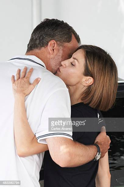 King Felipe VI of Spain and Queen Letizia of Spain visit the Royal Nautical Club during the last day of 34th Copa del Rey Mapfre Sailing Cup on...