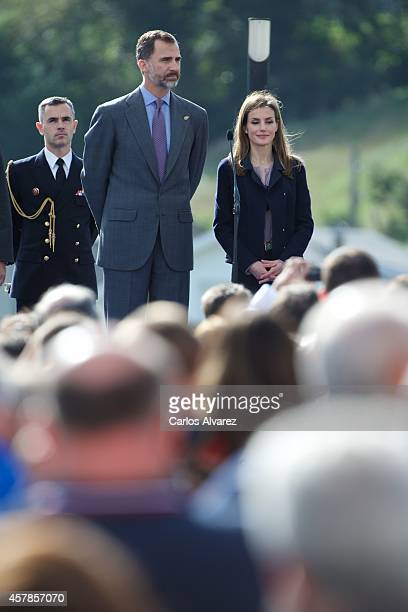 King Felipe VI of Spain and Queen Letizia of Spain visit the village of Boal on October 25 2014 in Boal Asturias Spain The village of Boal was...