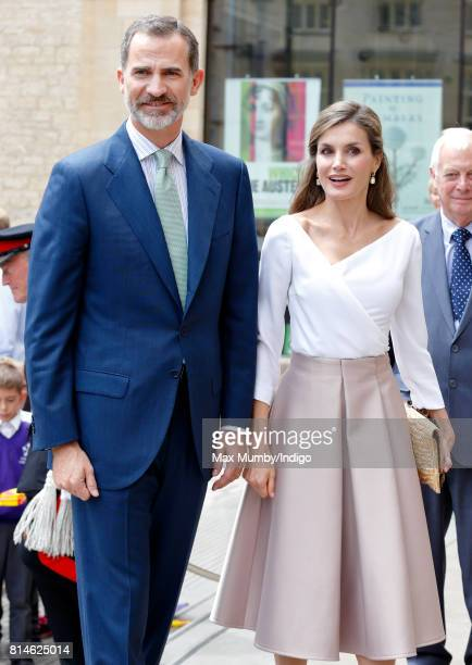 King Felipe VI of Spain and Queen Letizia of Spain visit the Weston Library at Oxford University on the final day of the Spanish State Visit to the...