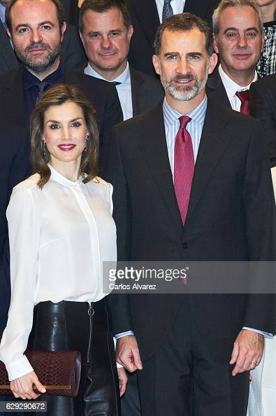 King Felipe VI of Spain and Queen Letizia of Spain visit Zeta Group on its 40th anniversary on December 12 2016 in Madrid Spain