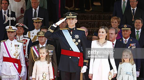 King Felipe VI of Spain and Queen Letizia of Spain with daughters Princess Leonor Princess of Asturias and Princess Sofia leave the Congress of...