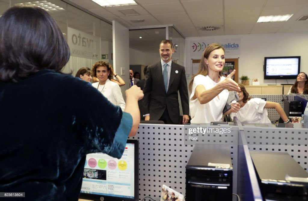 King Felipe VI of Spain and Queen Letizia visit the offices of the 016 Telefonic hotline for gender violence assistance on July 27, 2017 in Madrid, Spain.