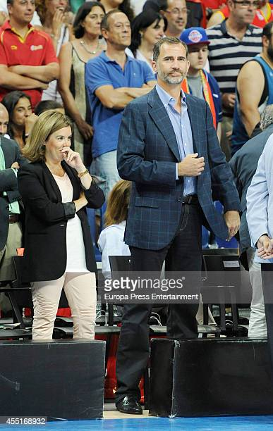 King Felipe VI of Spain and Soraya Saenz de Santamaria attend basketball match between Spain and Argentina at Palacio Municipal de Deportes on August...