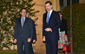 King Felipe VI of Spain arrives at a dinner reception for 'Mobile World Congress 2015' attendees at the Palau Reial de Pedralbes on March 1 2015 in...