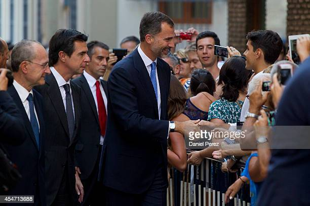 King Felipe VI of Spain arrives at the Malaga Picasso Museum on September 5 2014 in Malaga Spain