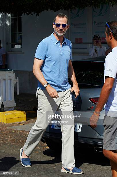 King Felipe VI of Spain arrives at the Royal Nautical Club during the 34th Copa del Rey Mapfre Sailing Cup day 1 on August 3 2015 in Palma de...