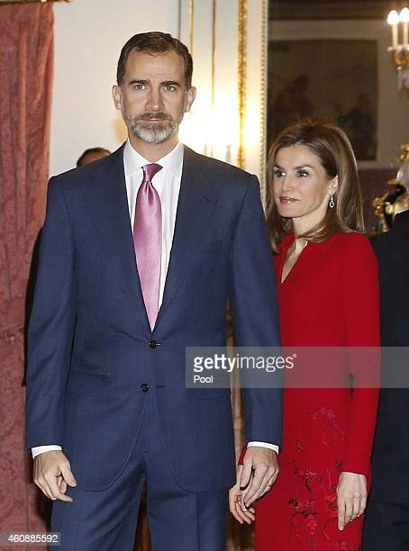 King Felipe VI of Spain arrives with Queen Letizia of Spain to deliver his first Christmas Eve message at the Zarzuela Palace in Madrid on December...