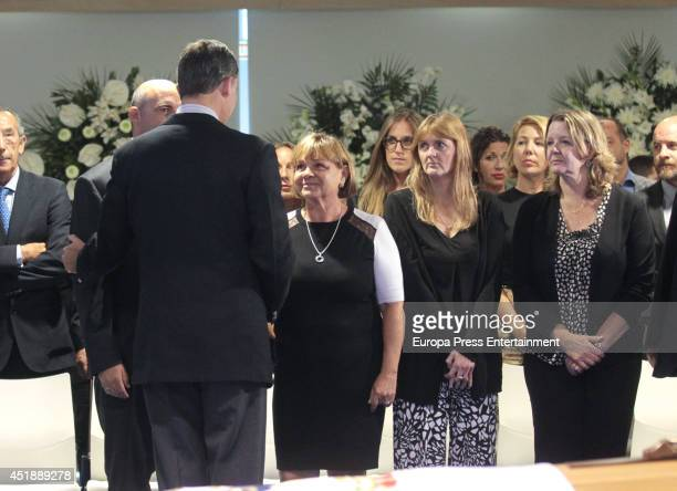 King Felipe VI of Spain attend attends the funeral chapel for Real Madrid legend and honorary president Alfredo Di Stefano who died at 88 years old...