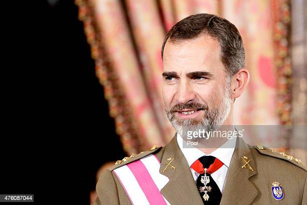 King Felipe VI of Spain attends 2015 Armed Forces Day oficial reception at the Royal Palace on June 6 2015 in Madrid Spain
