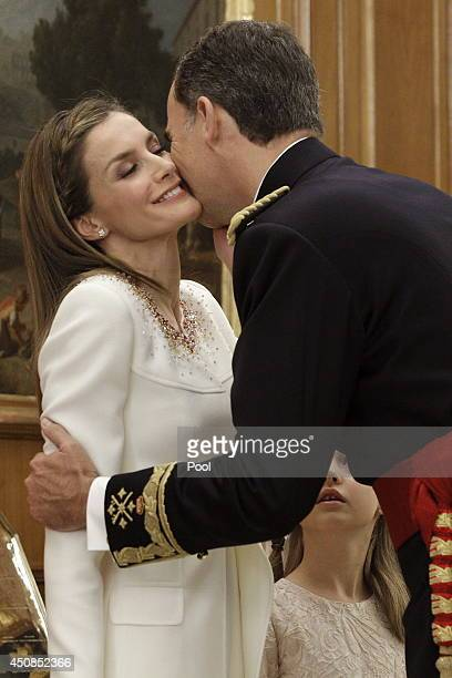 King Felipe VI of Spain attends a ceremony in the Hearing Room of Zarzuela Palace with Queen Letizia of Spain prior to the King's official coronation...